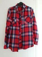 Ladies Topshop Red Checked Long Sleeve Shirt Size 10