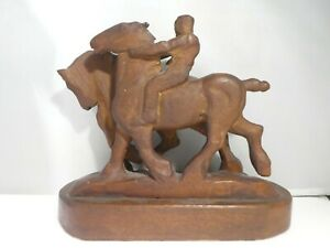 WHIMSICAL 1930'S HAND CARVED WOOD FOLK ART MAN RIDING A HORSE