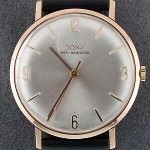 14k Rose Gold Doxa Men's Hand-Winding Watch w/ Leather Band