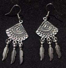BohoCoho Quirky Boho Gypsy Festival Silver Dangle Earrings - UK Seller