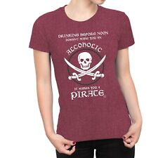 1Tee Womens Drinking Alcohol Before Noon Makes You a Pirate T-Shirt