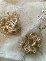 Antique Nouveau Gold Metallic Fragment Trim Salvage Sample Costume Per 2
