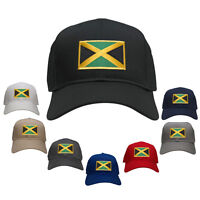 Jamaica Embroidered Flag Iron On Patch Gold Border Snapback Plain Baseball Cap