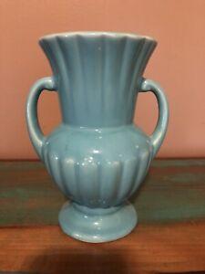 """McCoy Brush USA 2 Handled Green Flower Vase 7.5"""""""