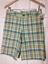 NWT 'Merona' Green Plaid 100% Cotton Bermuda Shorts - Size 4