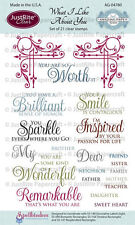 Spellbinders JUSTRITE CLEAR Stamps WHAT I LIKE ABOUT YOU AG-04788 Smile Inspired