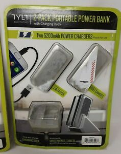 2 Pack TYLT Portable Power Banks With Charging Docks*USED*