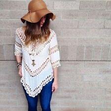 Cotton Blend V-Neckline Blouses for Women