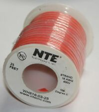 NTE Electronics Strand 16 AWG 600V Wire Orange Insulated Stranded Copper 25 Ft