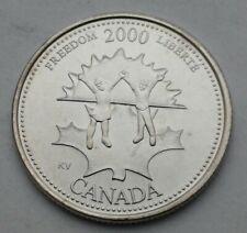 Canada 25 Cents 2000. Quarter dollar coin. Elizabeth II. Freedom.