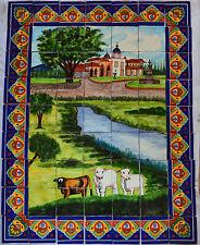 Mexican Talavera Mosaic Mural Tile Handmade Cows Backsplash Folk Art #10