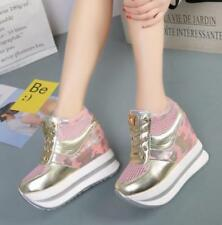 Womens Camouflage Lace Up Platform Mesh Platform High Wedge Heel Sneakers Shoes