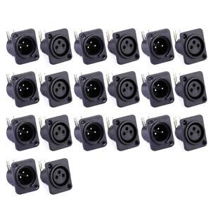 10pcs XLR 3 pin Male Female Jack Plug Panel Mount Chassis PCB Socket Connectors