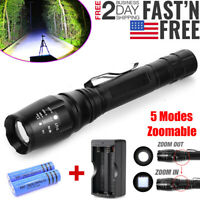 200000 LM Tactical T6 LED Flashlight 5 Modes Zoom Rechargeable 18650 Torch Light