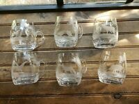RARE VTG Lot of 6 Clear Glass Etched Frosted Wildlife Hunting Scene Mugs FRANCE?