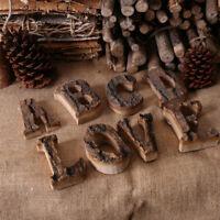 Rustic Thick Bark Wood Letter Alphabet Number Ornament DIY Craft Shop Decor