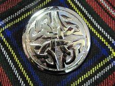 """NEW Celtic Knot Chrome Finish Brooch for Kilt Fly/Piper Plaid 2.75"""" Diameter"""