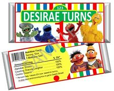 Sesame Street Candy Bar Wrappers - Birthday Favors - Set of 12
