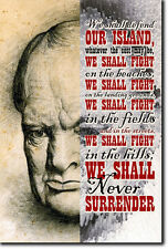 WINSTON CHURCHILL POSTER (WORLD WAR II QUOTE)
