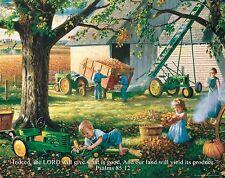 Religious Motivational Poster Print John Deere Tractor Psalms 85:12  RELG13