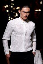Givenchy SS11 Blanco Estampado de Leopardo Rottweiler Calce Ajustado Manga Larga T-shirt Tamaño M
