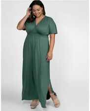 Kiyonna Womens Maxi Gown Size 1X 14 16 Green Vienna Style Full Length Dress USA