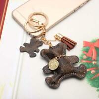 1PC Key Ring Fashion Teddy Bear Leather TasselCar Bag Charm Keychain Keyring