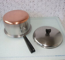 1950s Thermic Ray 3-quart Saucepan, Copper Clad Bottom Stainless & Lid USA
