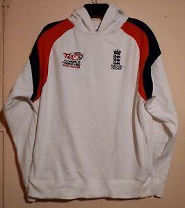 ENGLAND ICC WORLD CRICKET T20 TWENTY20 WHITE BLUE RED HOODED SWEAT SHIRT L VGC