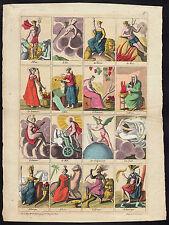 Vier Elemente 4 Jahres- und 4 Tageszeiten 4 Kontinente Kupferstich 1780 altkol.!