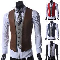 Stylish New Mens Slim Fit Formal Casual Dress Vest Suit Waistcoat Jacket Coat