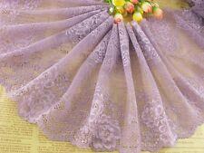 """9""""*1yard delicate Purple Elastic/Spandex Soft Flower Floral lace trim  0414"""