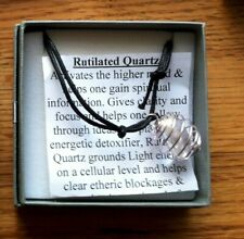 Rutilated Quartz Crystal Gemstone Boxed Pendant (on adjustable cord) Free P&P