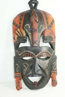 African Art Tribal Face Mask Hand Carved Wooden Ethnic Wall Sculpture