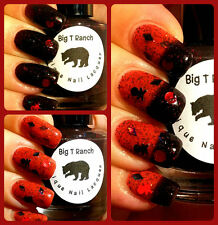 Pirate Skull and Crossbones Color Changing Thermal Nail Polish Red to Black