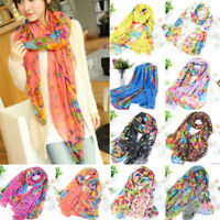 Women Ladies Fashion Flower Print Large Shawl Scarf Soft Wrap Long Scarves Stole