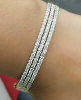 6.00 CT Round Cut Diamond Women's Tennis Bangle Bracelet 14K White Gold Finish