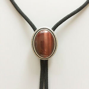Silver Plated Nature Red Tiger Eye Stone Western Oval Bolo Tie