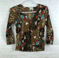 Alberto Makali Size S Brown Floral Crinkle Top Blouse One Button 3/4 Sleeve