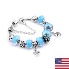 Women 925 Sterling Silver Light Blue Crystal Skull Heart Bead Bracelet