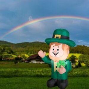 3.5' St Patrick's Day Lighted Leprechaun Airblown Inflatable Yard Decor