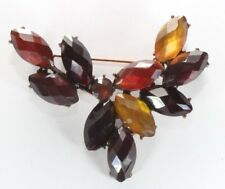 Swag - Red Yellow Rhinestones Copper Tone Brooch Pin - Lc Liz Claiborne - Flower