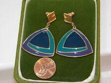 NWT Trifari Blue Purple Enamel Triangle Gold Dangle Pierced Earrings 7k 19