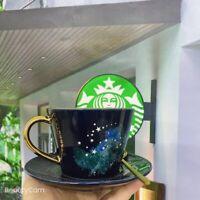Starbucks Starry Sky Iceberg Ceramic Coffee Mug W/ Stir rod&Saucer Set Milk Cups