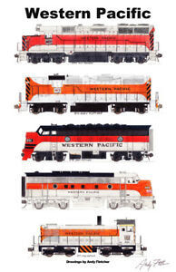"""Western Pacific Orange & Silver 11""""x17"""" Railroad Poster by Andy Fletcher signed"""