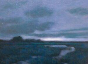 Twilight Wetlands Realism Landscape OIL PAINTING ART IMPRESSIONIST Original Blue