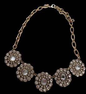 JCrew Necklace Goldtone Pendant Jewelry Neckwear Glitter Bling Jewels Crystal