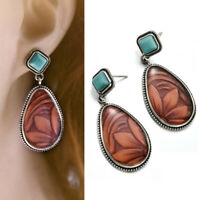 Women Vintage Turquoise Alloy Ear Stud Dangle Bohemian Earrings Wedding Jewelry