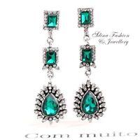 Vintage Design Long Luxury Teardrop Gold /& Emerald Green Drop Earrings E648