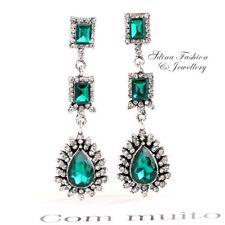 18K White Gold Plated Crystal Emerald Luxury Teardrop Vintage Bohemian Earrings